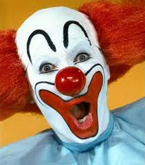 Grotesque whiteface clown